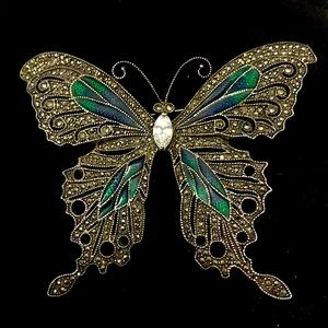 Antique Sterling Silver & Marcasite Butterfly Pin